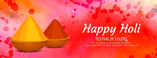 Happy holi colorful banner template
