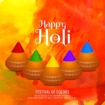 Happy holi colorful greeting background