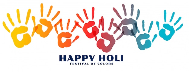 Happy holi colorful hand prints banner