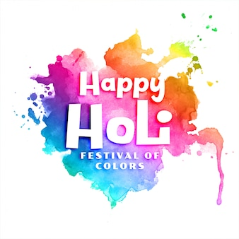 Happy holi colorful watercolor abstract background