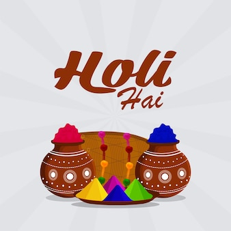 Happy holi creative flat design concept and celebration background