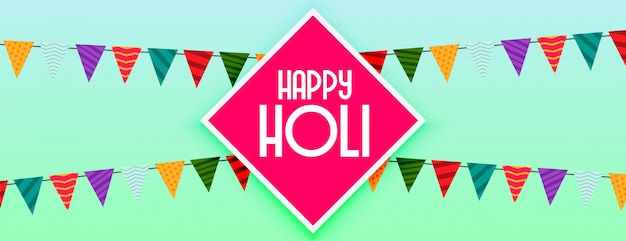 Happy holi decorative festival celebration banner