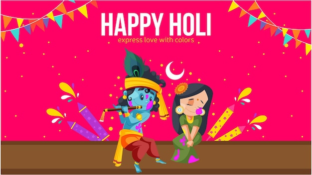 Happy holi express love with colors banner design with lord krishna and radha rani