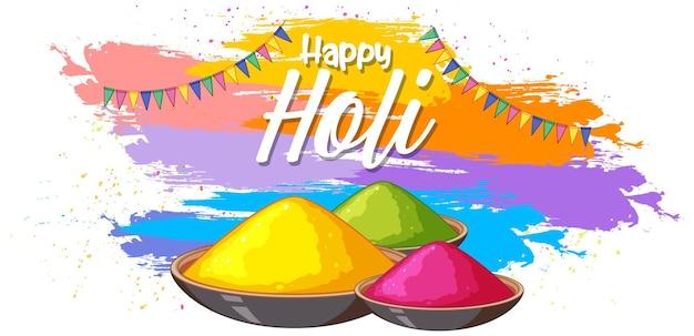 Happy holi fastival con polveri colorate