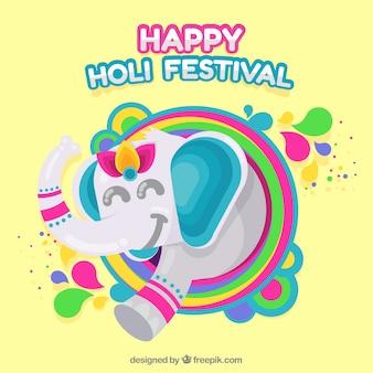 Счастливый фон фестиваля холи со слоном