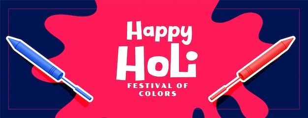 Happy holi festival banner with pichkari color
