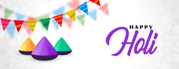 Happy holi festival celebration banner illustration