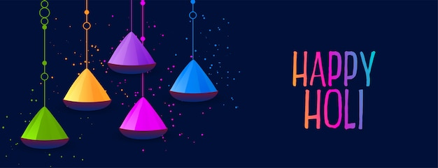 Happy holi festival celebration banner with colors