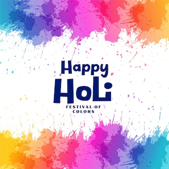 Happy holi festival colorful splashes background