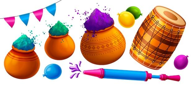 다채로운 gulal, dhol 및 pichkari가있는 해피 홀리 축제 요소