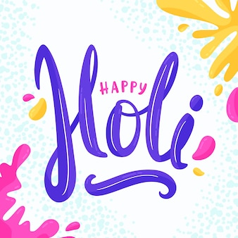 Happy holi festival lettering concept