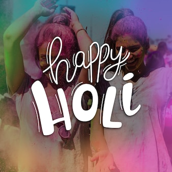 Happy holi festival lettering theme