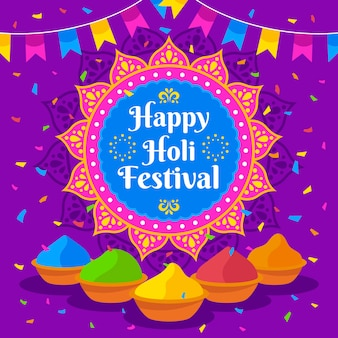 Happy holi festival with colored gulal