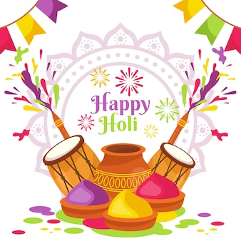 Happy holi festival with drums and gulal
