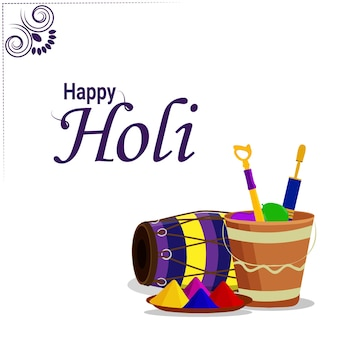 Happy holi flat design concept with color mud pot and dhol