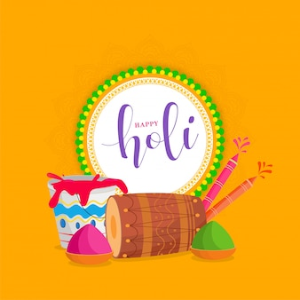 Happy holi font in circular frame with drum, water guns, color bowls and bucket