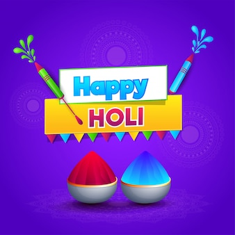 Happy holi greeting card design with color guns and bowls full o