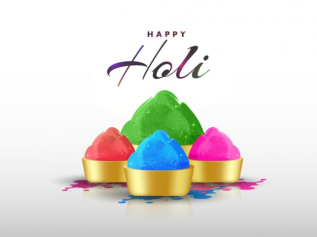 Happy holi greeting card design with golden bowls full of dry co