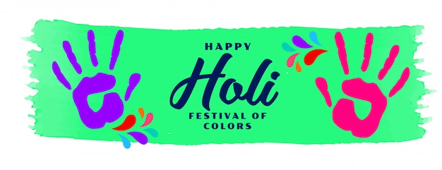 Happy holi hand color print banner