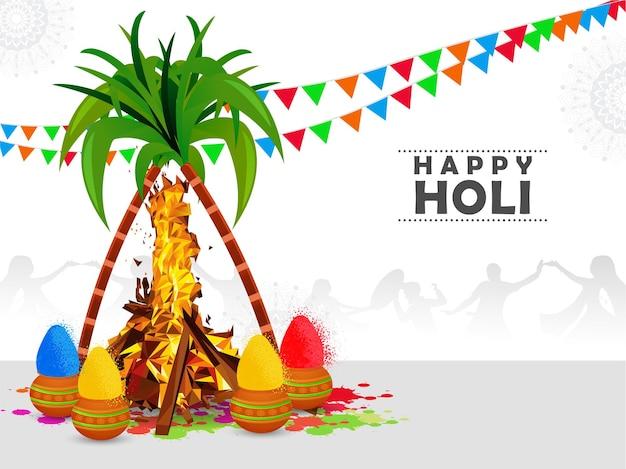 ホリカダハンのハッピーホーリーインドのお祭りのお祝い