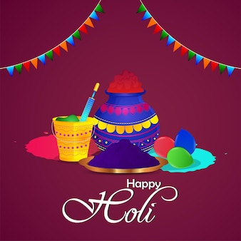 Happy holi indian festival greeting card with powder mud pot and color plate with balloon