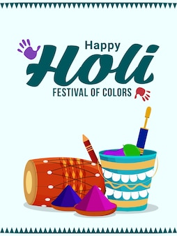 Happy holi indian festival greeting card with powder mud pot and color plate