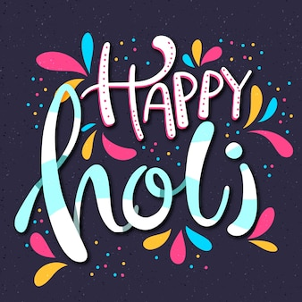 Happy holi lettering concept