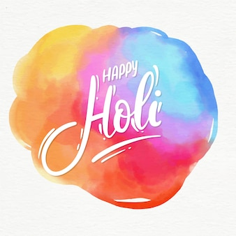 Happy holi lettering message