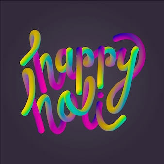 Happy holi lettering with black background