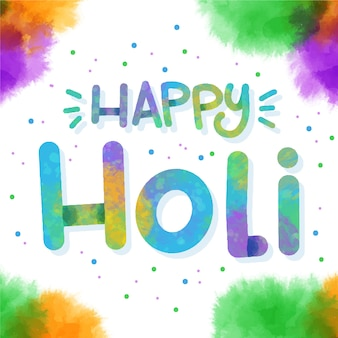 Happy holi lettering with dots and stains