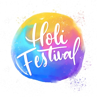 Happy holi lettering with greeting
