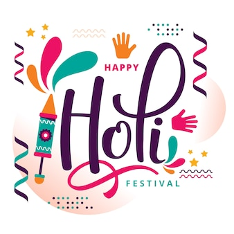 Happy holi lettering with memphis elements