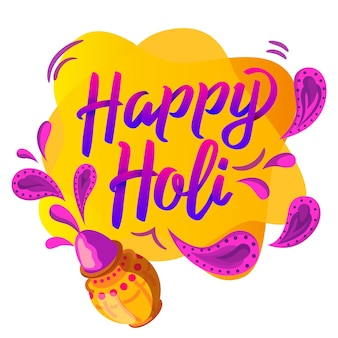 Happy holi lettering