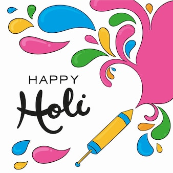Happy holi message with lettering concept