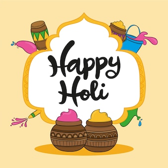 Happy holi message with lettering theme