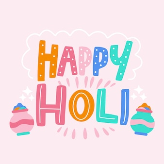 Happy holi message with lettering
