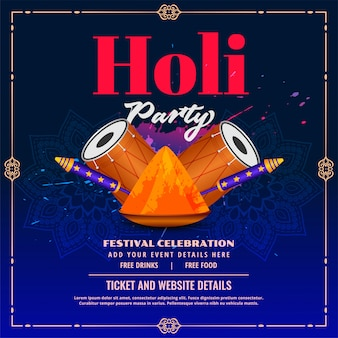 Happy holi party flyer with pichkari and dhol