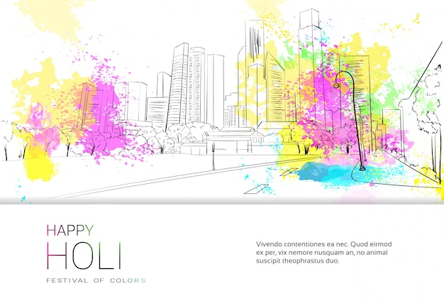 Happy holi religious india holiday traditional celebration greeting card