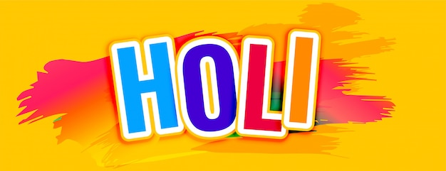 Happy holi text yellow abstract banner