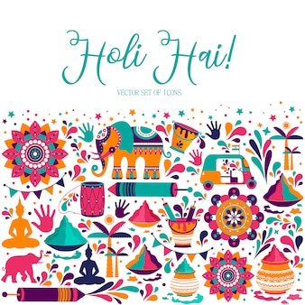 Happy holi vector elements for card design.