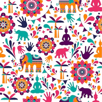Happy holi vector elements seamless pattern design.