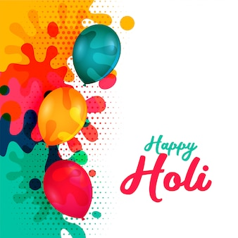Happy holi water ballons and colorful splashes card