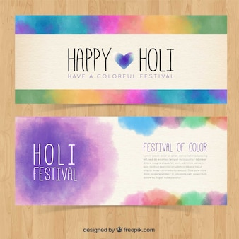 Happy holi watercolor banners