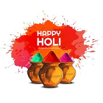 Happy holi красочная праздничная открытка
