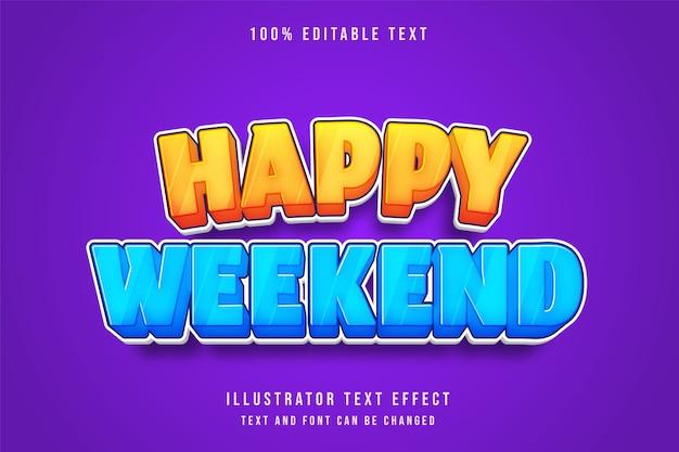 幸せな休日、3 d編集可能なテキスト効果黄色グラデーションブルーコミックスタイル