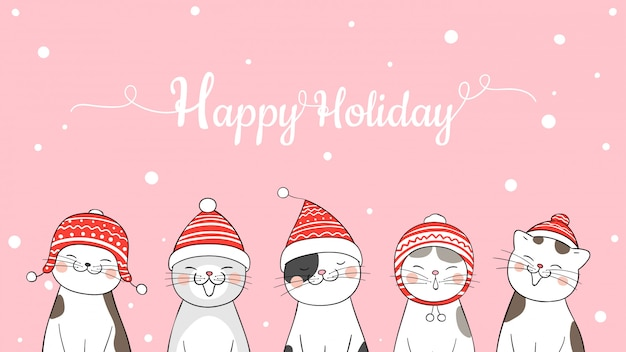 Happy holiday banner with cats