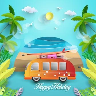 幸せな休日。美しい浜の景色と熱帯の木々。