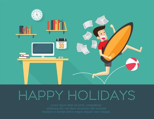 幸せな休日、休暇や休日のコンセプトに行くビジネスマン