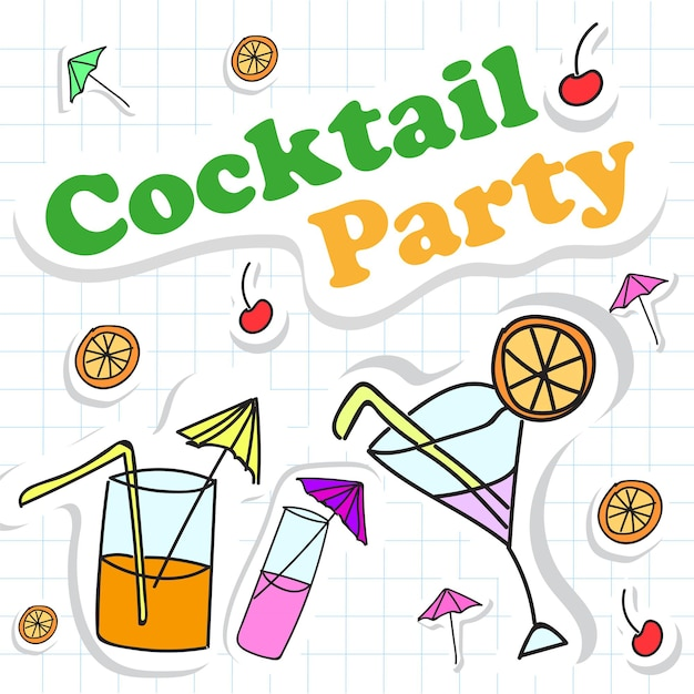 Happy holiday card with cocktail. vector illustration
