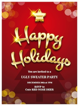 Happy holiday christmas invitation card vector illustration